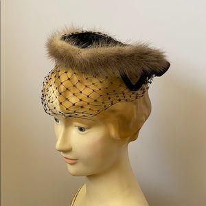 Vintage 50's Mink & Velvet Halo Hat Lace Veil